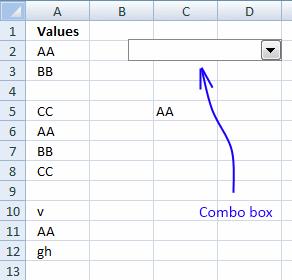 how to stop combobox in excel