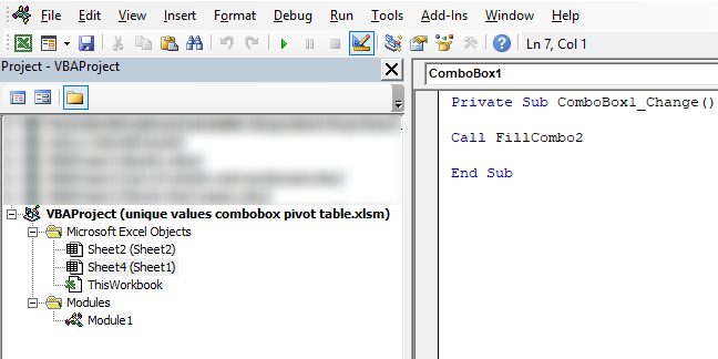 Populate a combobox with values from a pivot table [VBA]