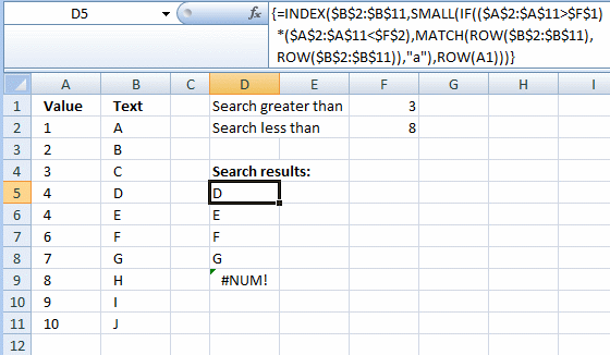 Return multiple adjacent values within a range