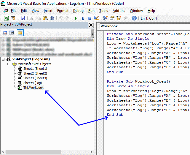 How to log when a workbook is opened and closed [VBA]