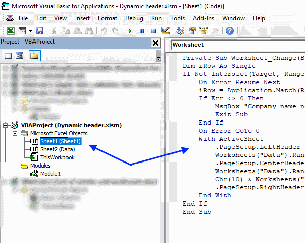 Use a drop down list to display data in worksheet header [VBA]