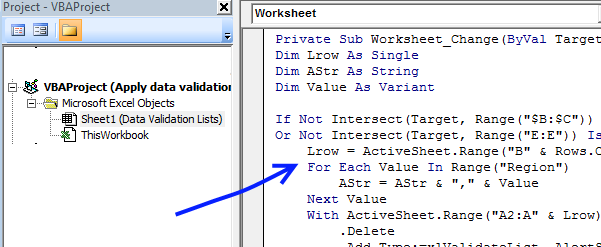 Apply drop-down lists dynamically