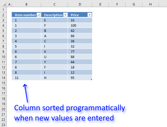 Sort an Excel defined Table programmatically