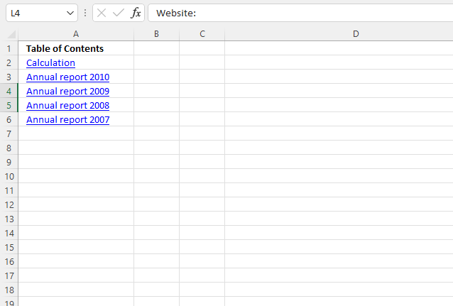 Create links to all visible worksheets programmatically