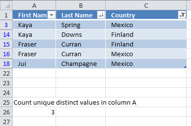 Count unique distinct values in a filtered Excel defined Table