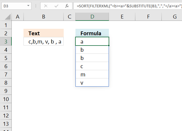 Sort values in a cell based on a delimiting character