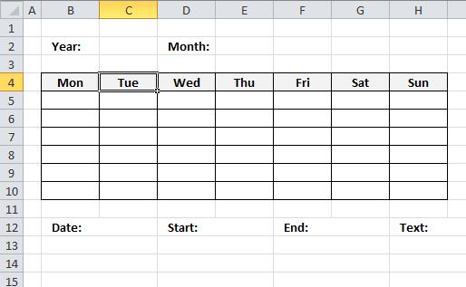 Monthly Calendar Visual Basic : Excel calendar vba