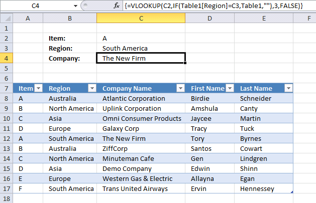 How to use VLOOKUP with multiple conditions