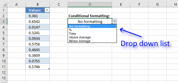 How to change cell formatting using a Drop Down list Drop down list