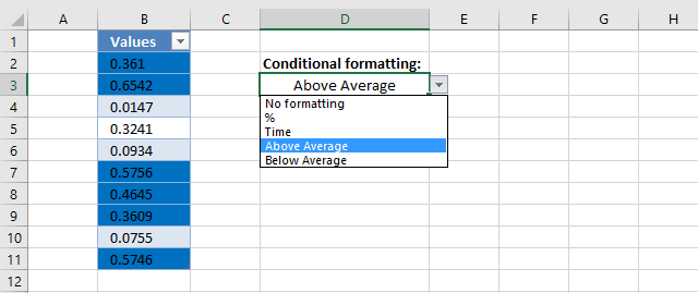 How to change cell formatting using a Drop Down list above average
