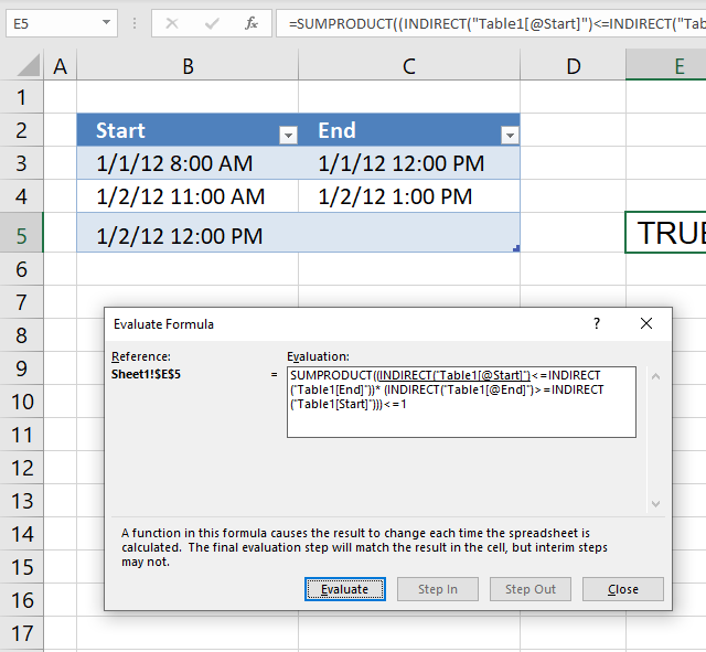 Prevent overlapping date and time ranges using data validation evaluate formula