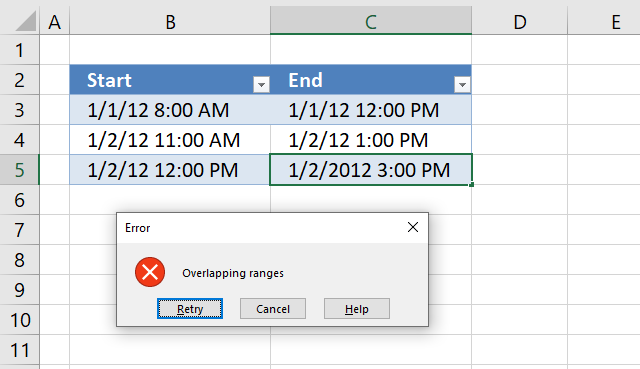 Prevent overlapping date and time ranges using data validation