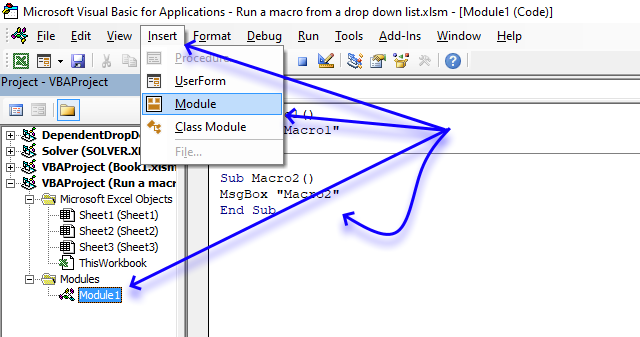 Run a macro from a drop down list VBA code
