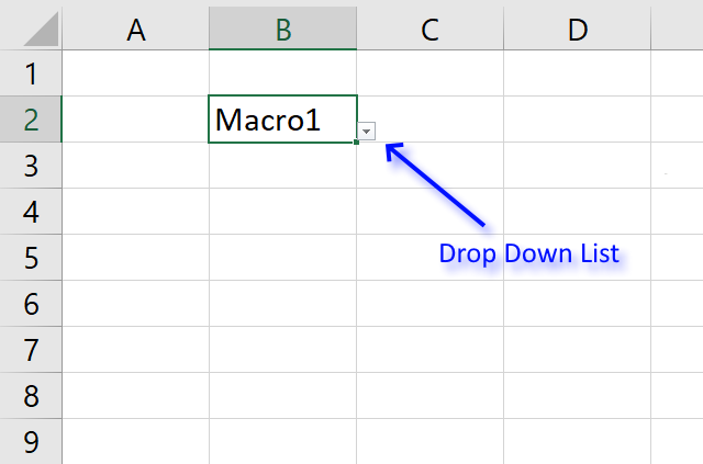 Run a macro from a drop down list arrow