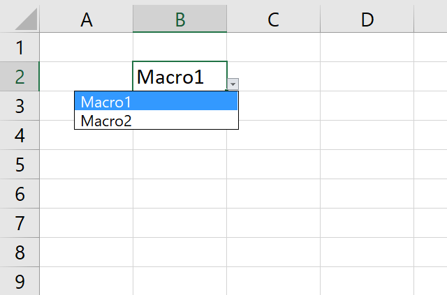 Run a macro from a drop down list