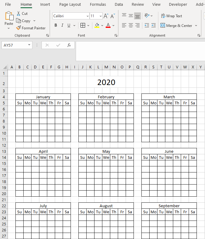 Highlight events in a yearly calendar apply formulas