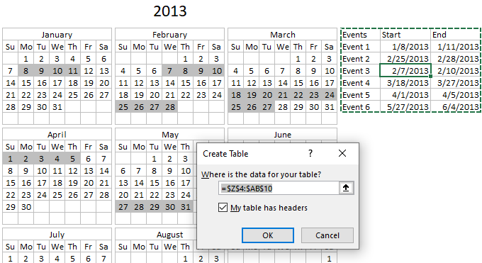 Highlight events in a yearly calendar create excel table