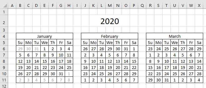 Highlight events in a yearly calendar hide dates CF formula format cells3