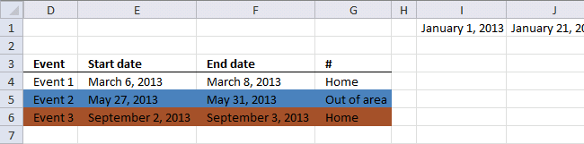 conditional formatting events within federal holidays