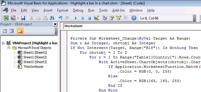 highlight a bar in a chart2
