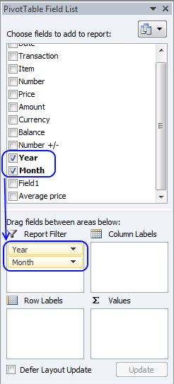 sum security trades - pivot table1