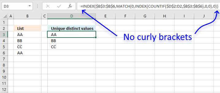No curly brackets array formula