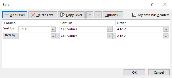 Sort a data set Filter and sort Add Level