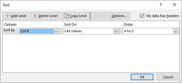 Sort a data set Filter and sort First column