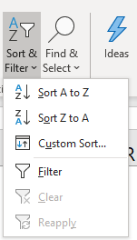 Sort a data set Filter and sort button
