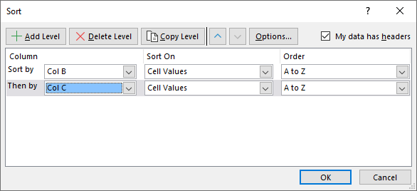 Sort a data set Filter and sort button1