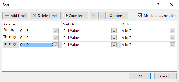 Sort a data set Filter and sort button2