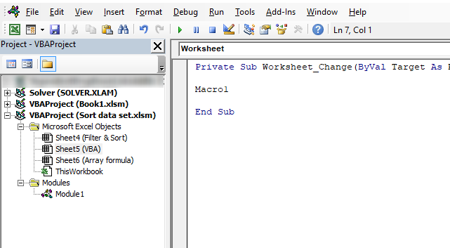 Sort table using a vba macro event code1 1