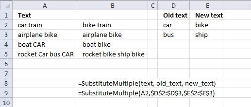Substitute multiple text values