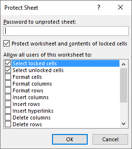 lock cells protect sheet