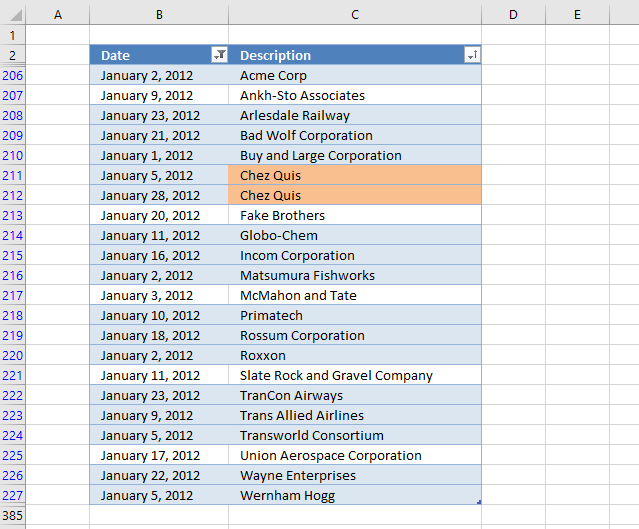 Highlight duplicates in a filtered Excel Table 1