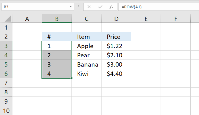 How to number rows 1