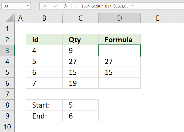 If function between two values