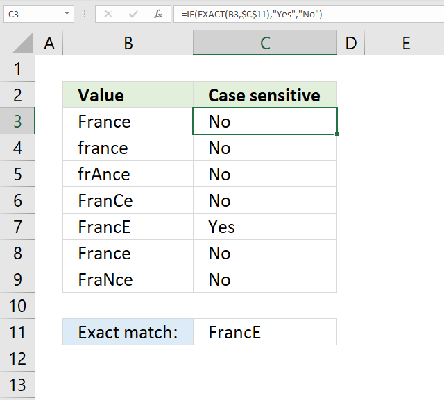 If function case sensitive extact match