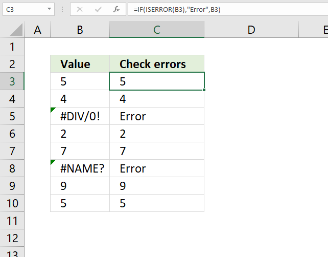 If function check if cell contains an error