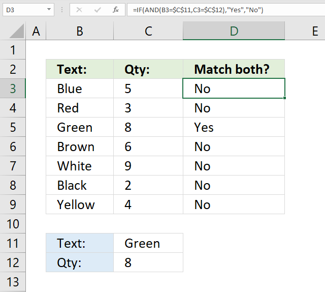 If function match criteria AND logic