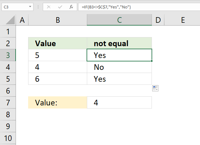 If function not equal