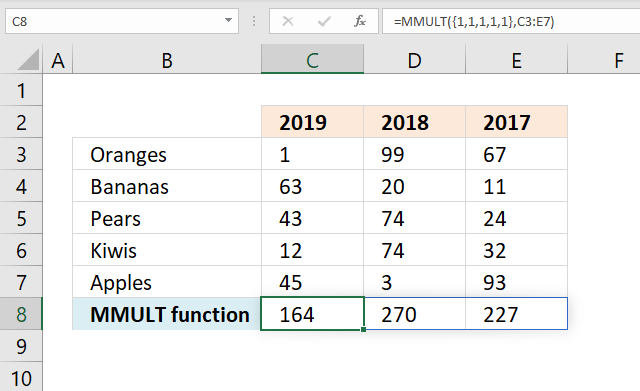MMULT function sum column wise