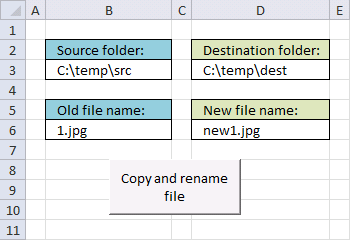 Picture of a worksheet that lets you copy and rename a specific file from a source directory to a destination directory