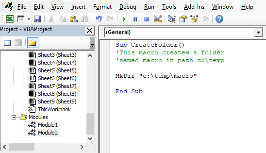 Picture of the vba editor containing a macro that allows you to create a folder using vba macro