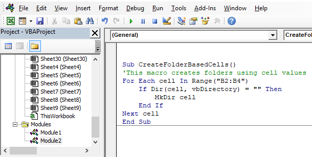 Picture of a macro that creates folders using cell values