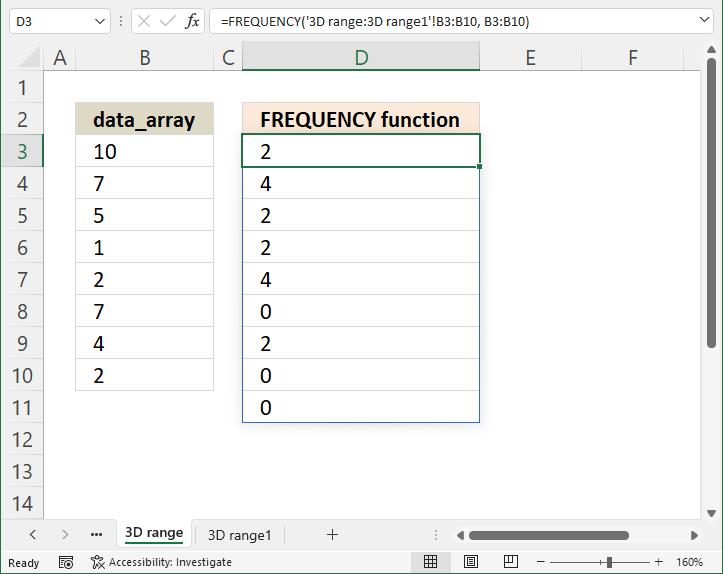 FREQUENCY function 3D range 1