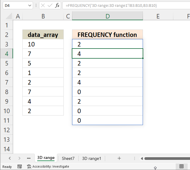 FREQUENCY function how to rearrange worksheets