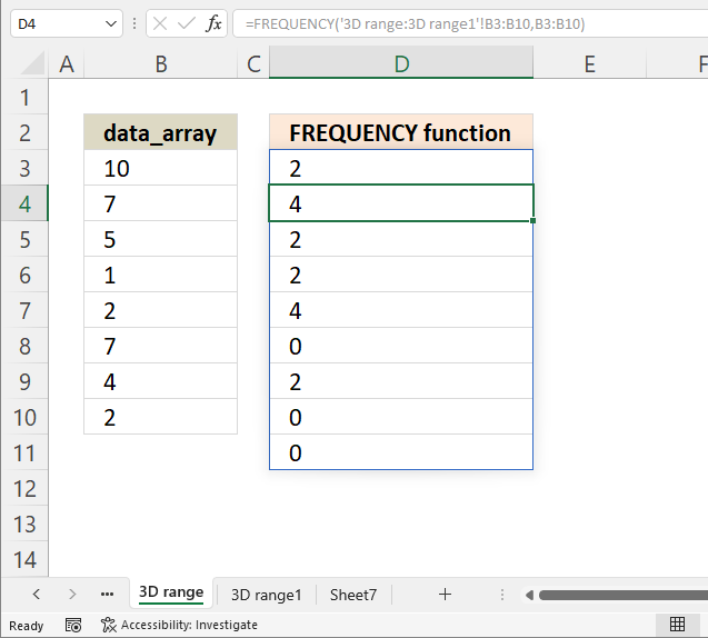 FREQUENCY function how to rearrange worksheets1