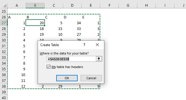 Highlight a data series in a line chart create excel table