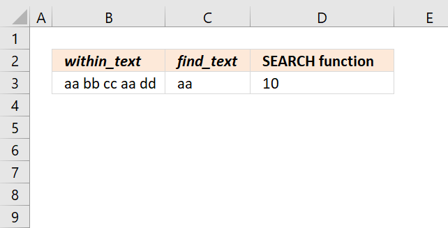 SEARCH function find position of second instance